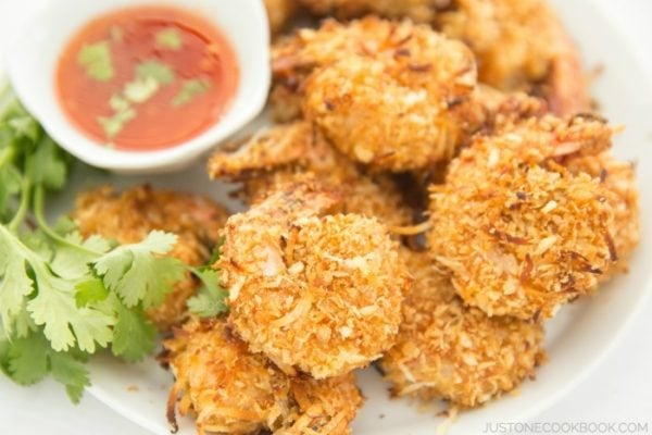 Baked Coconut Shrimp with Thai Chili Sauce on a plate.