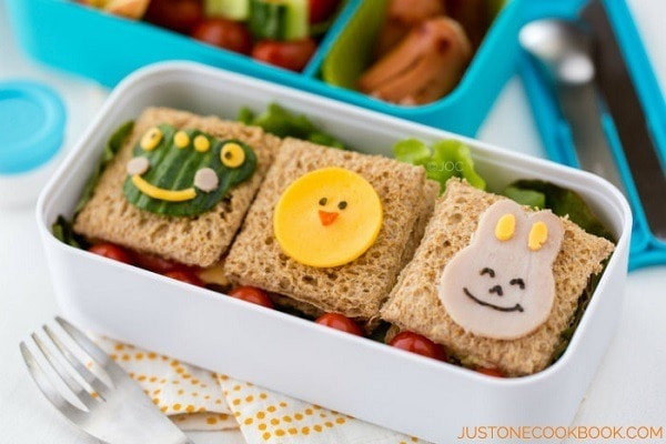 Sandwich bento on a table.