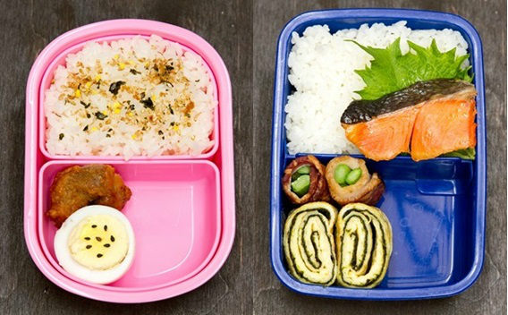 Bento boxes with rice and proteins.
