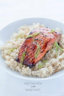 Miso Salmon with Japanese ginger rice on a white plate.