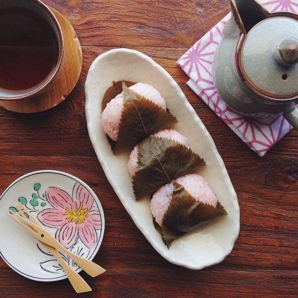 Sakura Mochi on a plate.