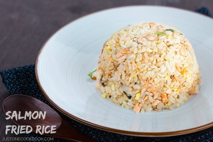 Salmon fried rice just one cookbook salmon fried rice on a white plate ccuart Choice Image