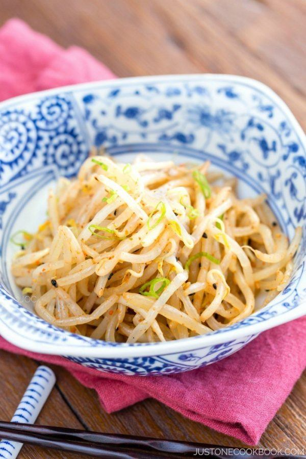 Spicy Bean Sprout Salad in a small bowl.