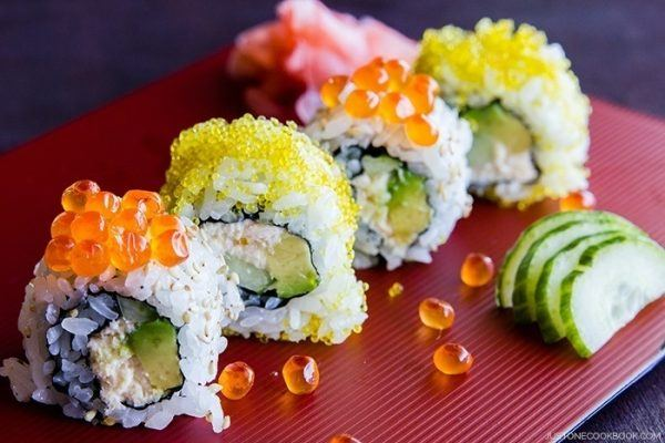 California Roll on a tray.