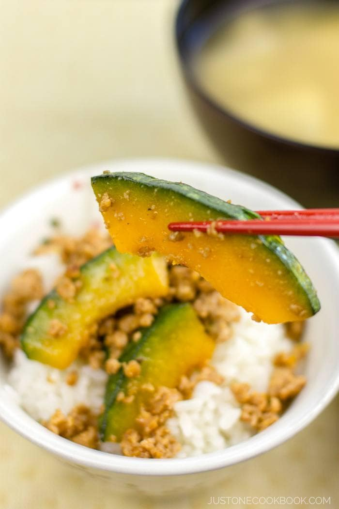 Kabocha Pork Stir Fry over white rice.