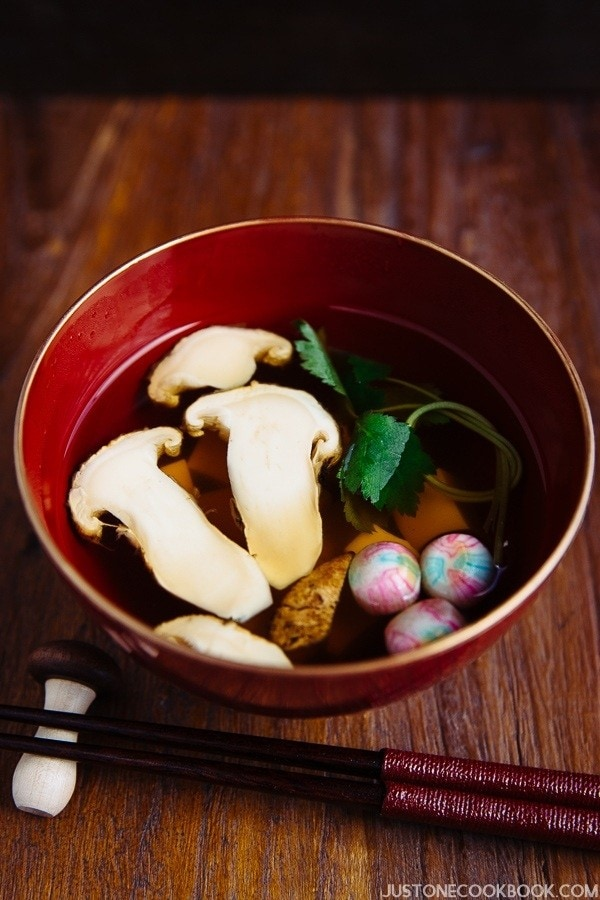 Matsutake Clear Soup in Japanese soup bowl on the wooden table