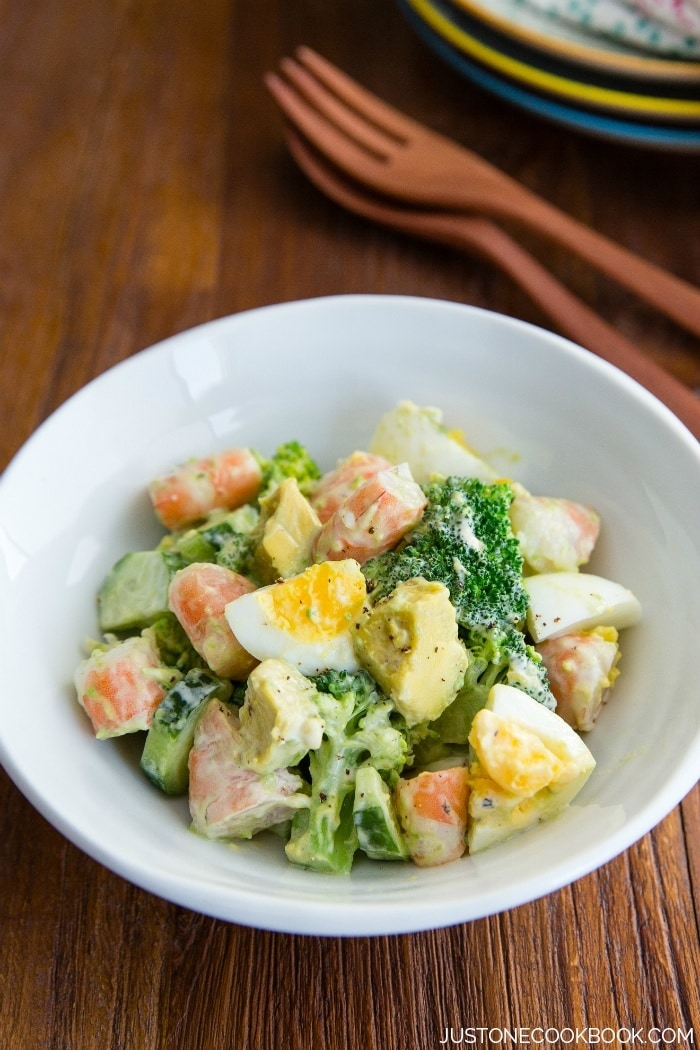 Shrimp Salad with avocado and egg. Delicious summer BBQ side dish