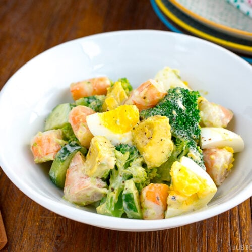 Avocado, Shrimp and Broccoli Salad served on a plate