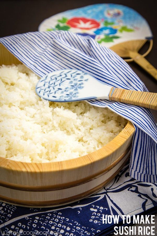 Sushi Rice in a wooden bowl.