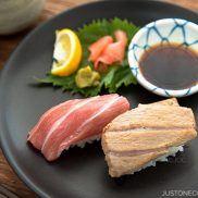 "Supreme Fatty Tuna Belly ""Otoro"" Sushi Recipe - Easy to make sushi at home using already-made sushi pillows. Easy Japanese Recipes at JustOneCookbook.com"