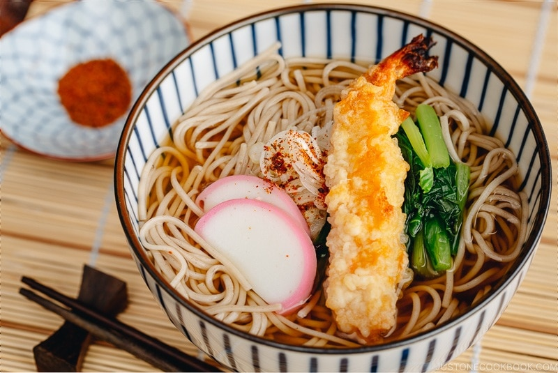 Soba Noodle Soup with shrimp in a bowl | easy Japanese recipes at justonecookbook.com