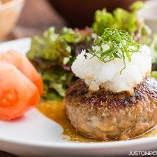 Simple, tasty, and easy-to-follow Japanese Hamburger Steak (Wafu Hambagu) recipe. Easy Japanese Recipes at JustOneCookbook.com
