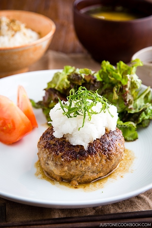 Wafu hambagu just one cookbook japanese hamburger steak wafu hambagu and salad on a plate forumfinder Images