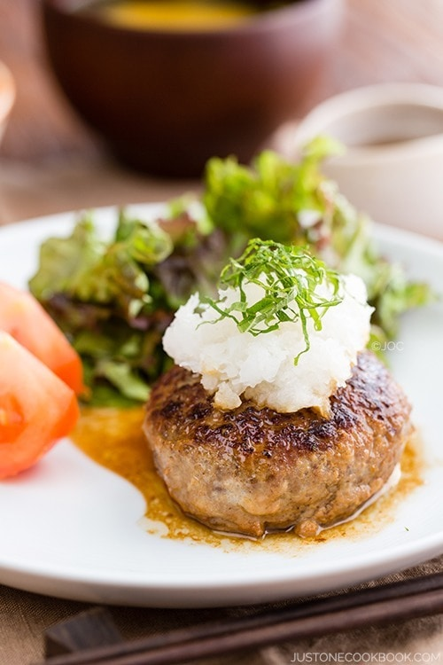 Japanese Hamburger Steak and salad on a plate.