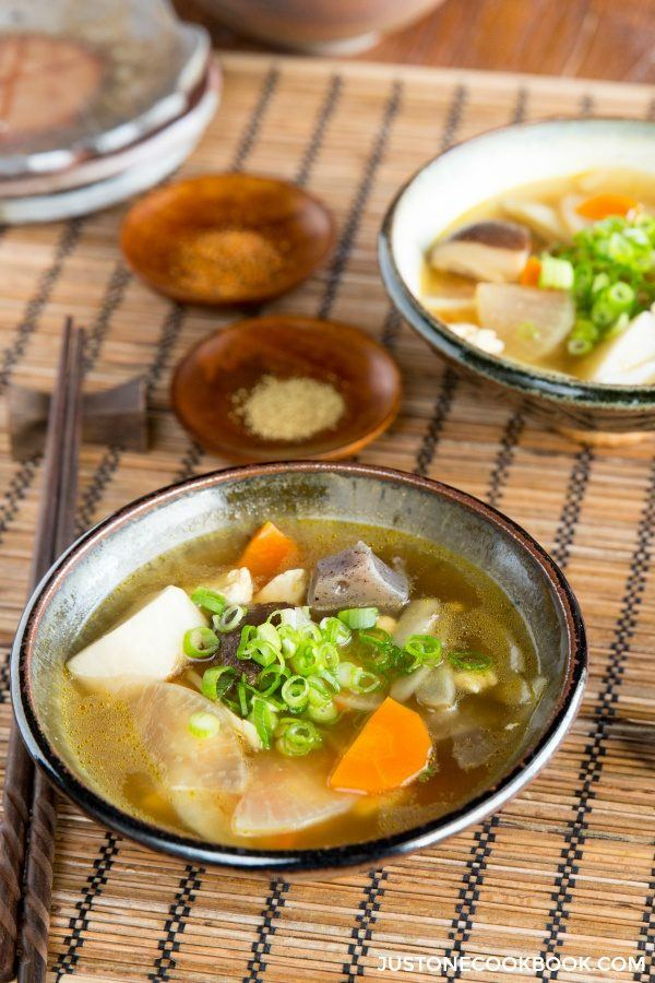 Japanese Vegetable Soup in bowls.