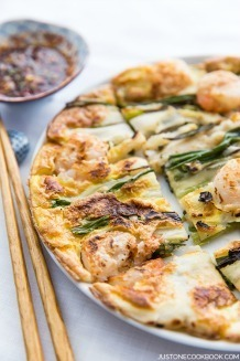 Easy-to-follow Scallion & Prawn Korean Pancake recipe. | JustOneCookbook.com @justonecookbook