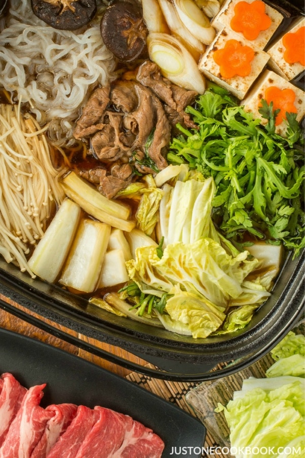 Sukiyaki in a hot pot.
