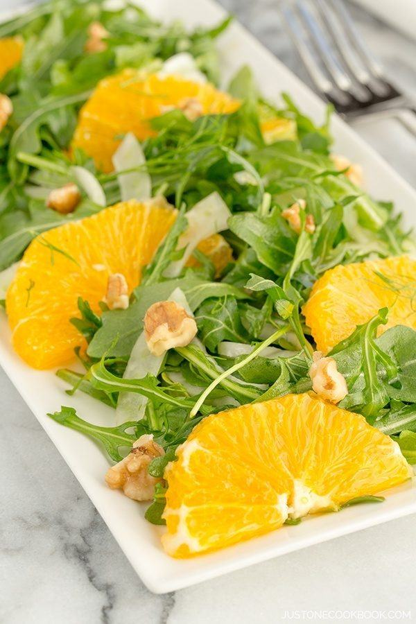 Arugula, Fennel, and Navel Orange Salad on a plate.