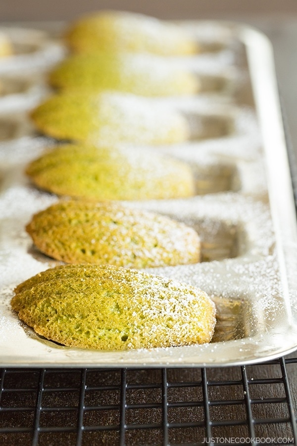 Green Tea Madeleine in a baking pan.