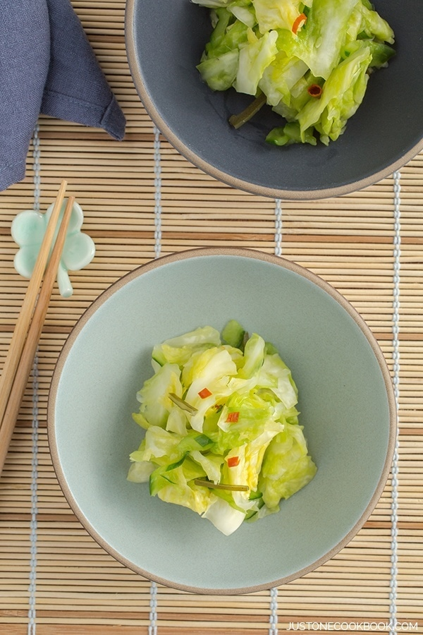 Tsukemono, Japanese Pickled Cabbage in a small bowl.