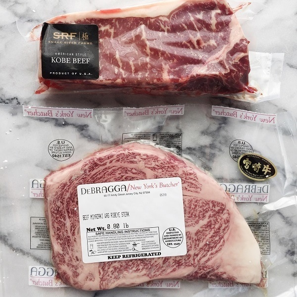 Wagyu and American Kobe Beef in packages.