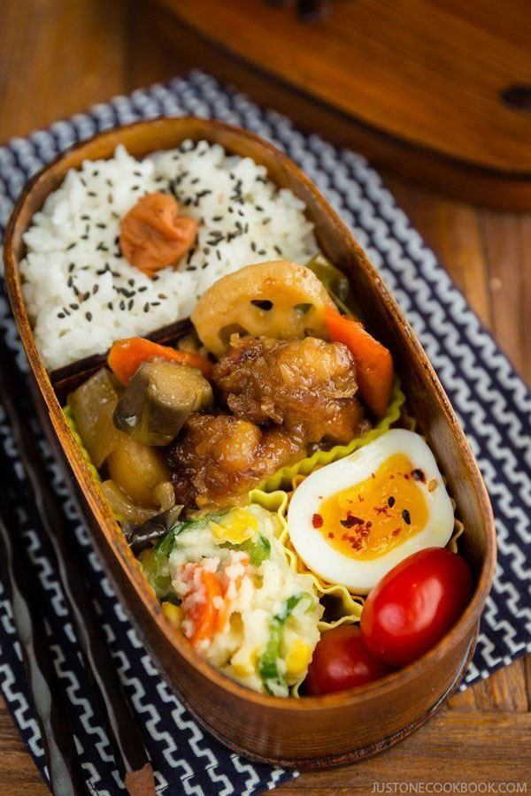 Sweet and Sour Chicken Bento on a table.