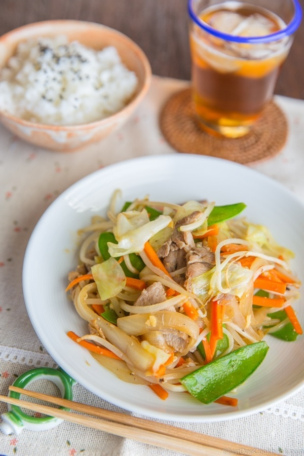 Stir fry vegetables yasai itame just one cookbook japanese stir fry vegetables yasai itame on white plate with bowl of rice and forumfinder Image collections