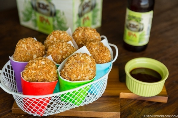 Baked Croquette in a basket.
