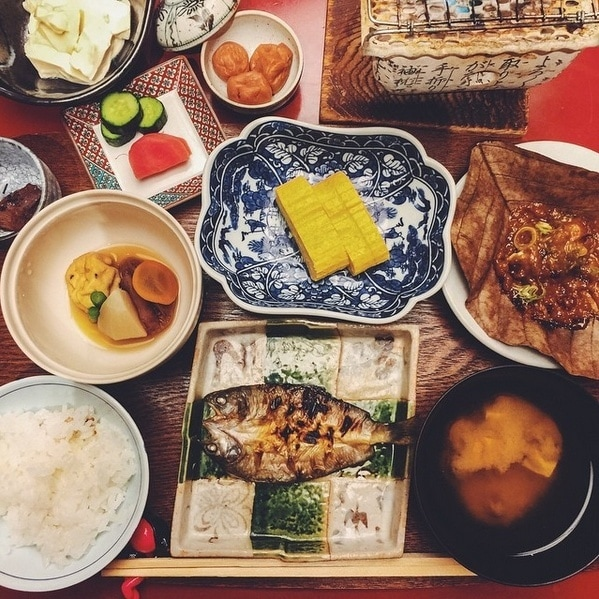 Takayama Breakfast dishes on a table.