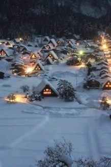 Shirakawa-go Night Snow View