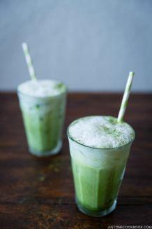Iced Green Tea Latte in glasses.