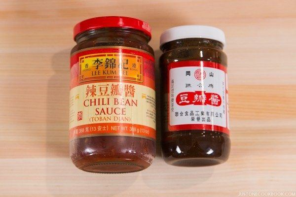 Chili (Fermented) Bean Paste in bottles.