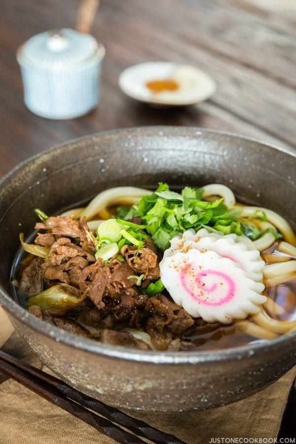 Beef Udon in a bowl.