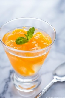 Orange Jelly in a glass cup.