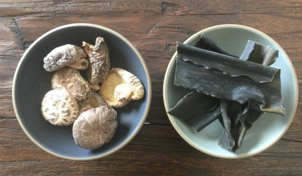 Dried Shiitake and Kombu in bowls.
