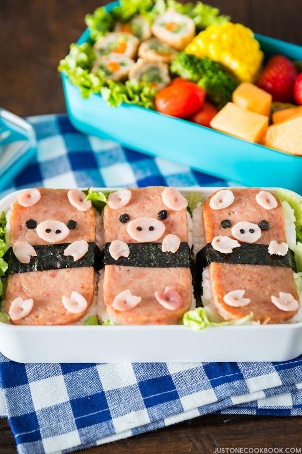 Piggy Spam Musubi Bento on a table.