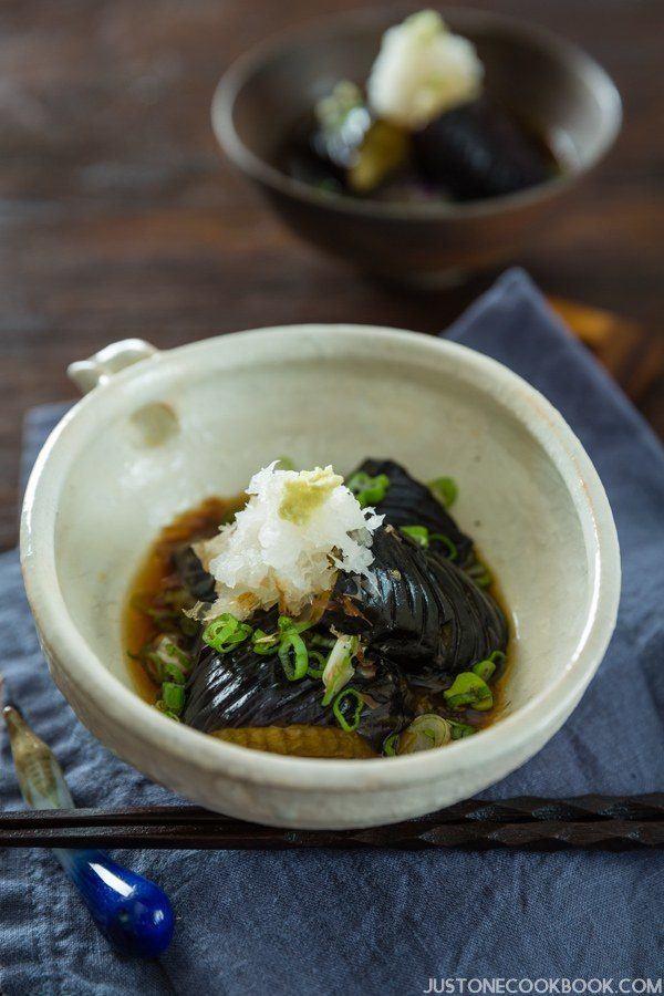 Deep Fried Eggplant in Light Broth (Eggplant Agebitashi) | Easy Japanese Recipes at JustOneCookbook.com