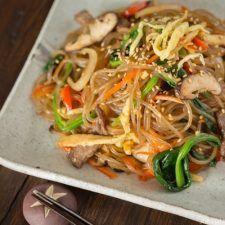 Japchae (Korean Glass Noodles with Stir-Fried Vegetables and Meat | JustOneCookbook.com