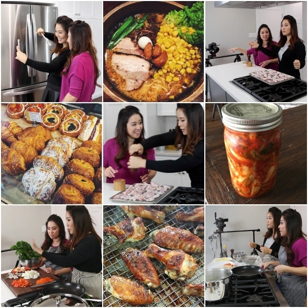 Seonkyoung & Nami in a kitchen and ramen, BBQ chicken, pastries and kimuchi photos.