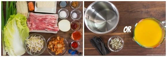 Kimchi Nabe Ingredients