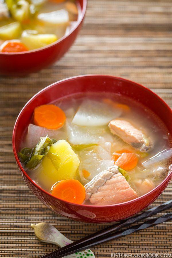 Sanpei-jiru (Salmon Soup from Hokkaido, Japan) | Easy Japanese Recipes at JustOneCookbook.com