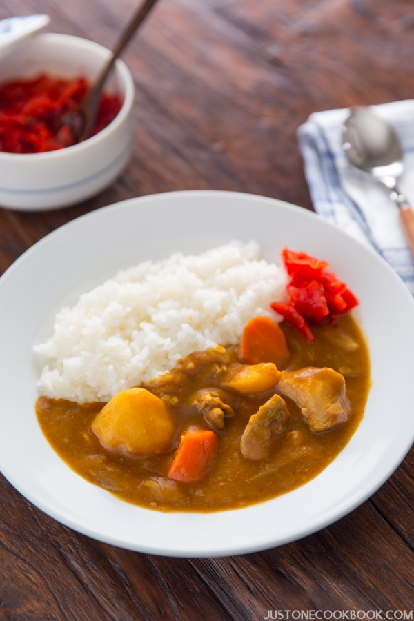 Pressure Cooker instant pot Japanese Curry and white rice on a plate.
