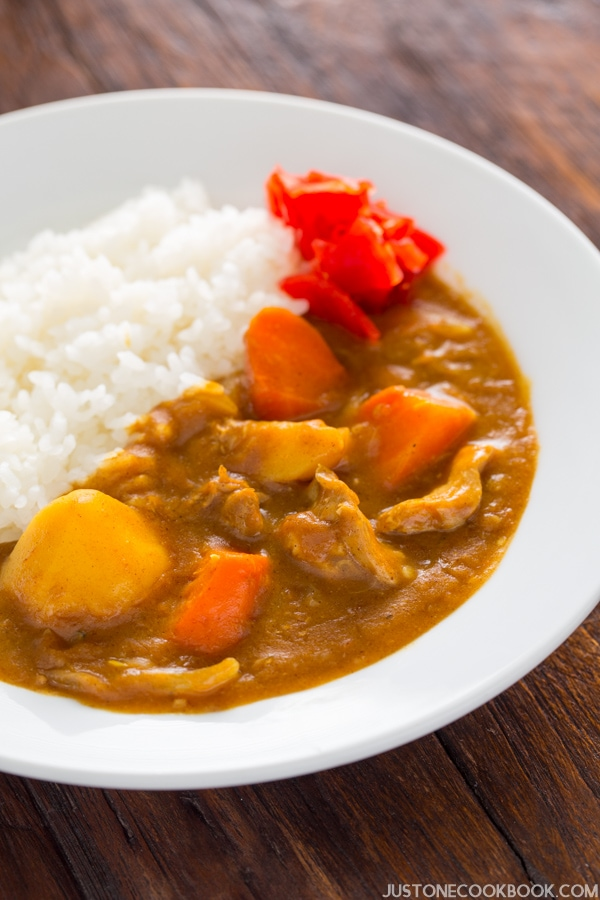 Pressure Cooker Japanese Curry and white rice on a plate.