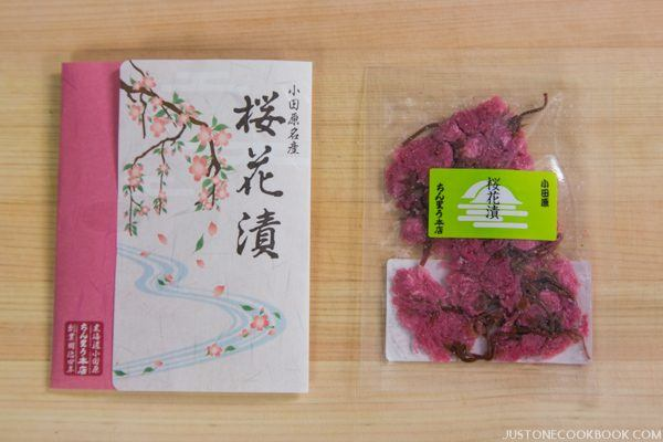Salt Pickled Cherry Blossoms in packages.