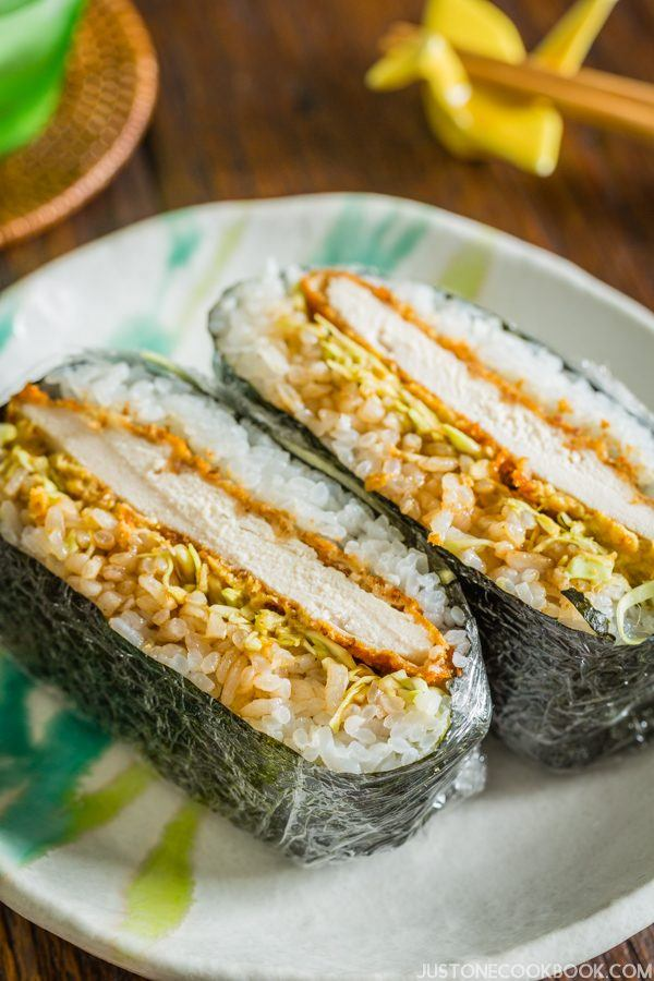 Chicken Katsu Onigirazu - portable rice sandwich for picnic, work lunch, or school lunch.