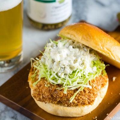 Ebi Katsu Burger (Baked Panko Crusted Shrimp Burger)   Easy Japanese Recipes at JustOneCookbook.com