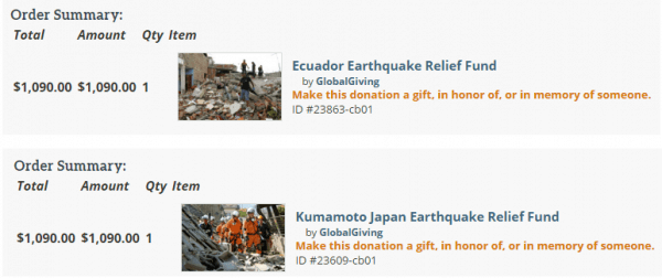 Donation to Earthquake Victims