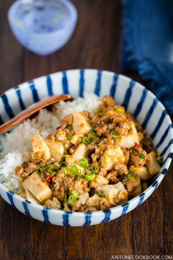 Mapo Tofu and white rice in a bowl.