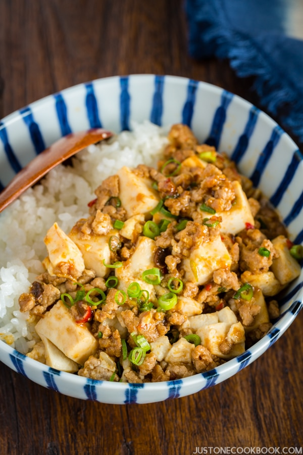 Mapo Tofu over Japanese white rice in the bowl.
