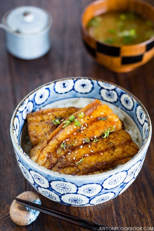Catfish Kabayaki with Teriyaki Sauce over the rice in a bowl.